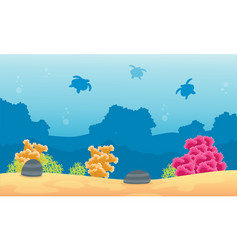 Silhouette of coral reef with turtle silhouettes vector