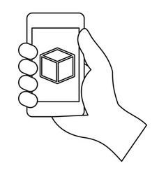 smartphone with 3d model icon outline style vector image