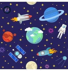 Space Research Seamless Pattern Background vector
