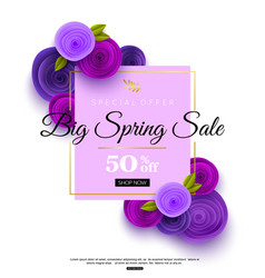 spring sale banner template with ultra violet vector image