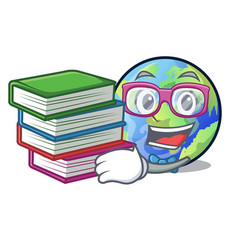 Student with book earth isolated with in the vector