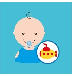submarine cute toy baby design vector image