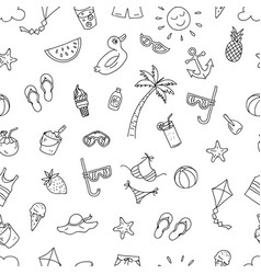 summer time beach holiday seamless pattern ready vector image
