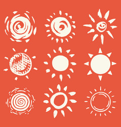 sun set brush strokes rays collection on red vector image