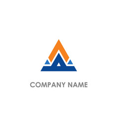 Triangle shape line colored business logo vector