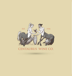 Two centaurus sharing wine logo hand vector