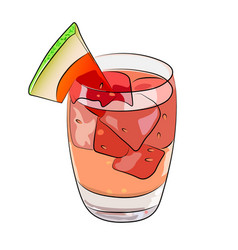 Watermelon summer drink sangria cocktail vector