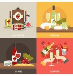 Wine Flat Set vector image