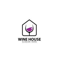 Wine house logo deign icon vector