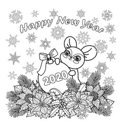 Winter holiday coloring page with mouse symbol vector