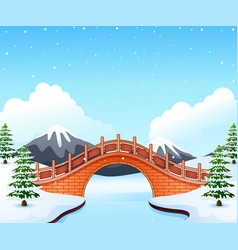 winter landscape with mountain and small stone bri vector image