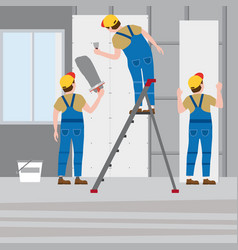 Workers put plaster on a stepladder installing vector