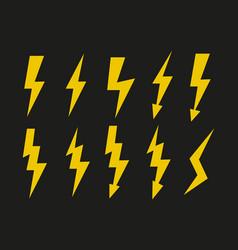 yellow lightning icons set symbols vector image