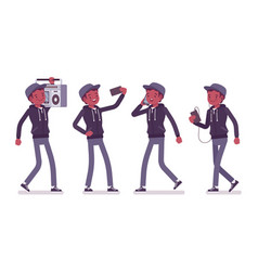 Young black man with gadgets vector