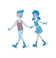 Young couple roller skating together vector