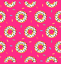 doughnut white on pink sweet seamless pattern vector image vector image
