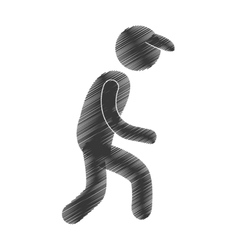 drawing man walking with cap figure pictogram vector image