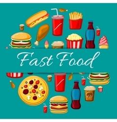 Fast food meal icons for emblem design vector image