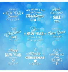 Christmas and New Year Vintage Typography Holidays vector image