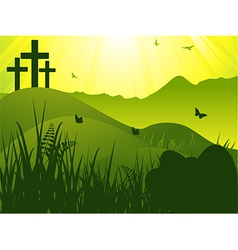 Easter serene background with crosses and eggs vector image vector image