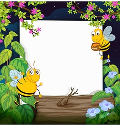 Honey bees and a white board vector image vector image