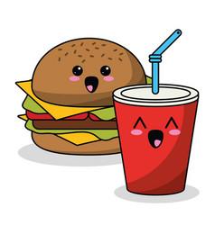 Kawaii burger and soda image vector