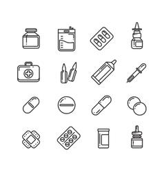 Pills drugs pharmacy medicine medication line vector image