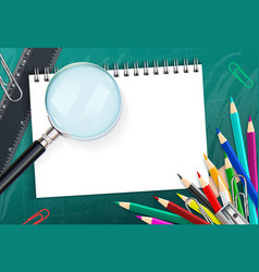 School background with colorful pencils and vector image vector image
