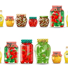 seamless border with preserve food vector image