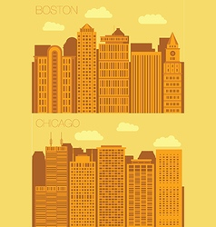 Set 2 flat background city boston and chicago vector