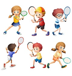 Tennis actions vector image vector image