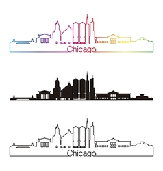 Chicago skyline linear style with rainbow in vector image