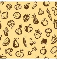 flat design fruits and vegetables pattern vector image