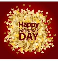 Golden glitter heart red background vector image vector image