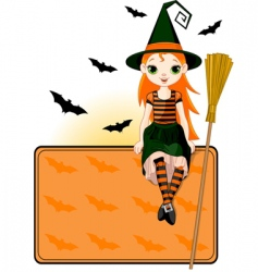 little halloween witch place card vector image vector image