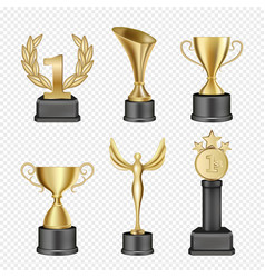 metal award cup icon set vector image