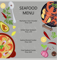 seafood menu flat design vector image vector image