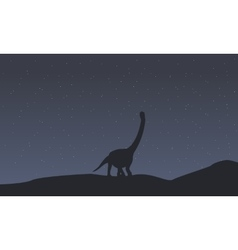 Silhouette of argentinosaurus scenery collection vector image vector image