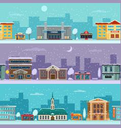urban landscape in winter season snowy weather vector image
