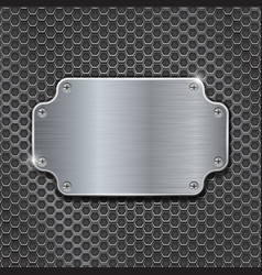metal decorative plate on iron perforated vector image vector image