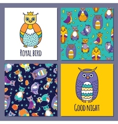 set of owls and two seamless patterns vector image