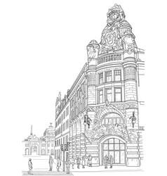 sketch of the street of ctockholm vector image