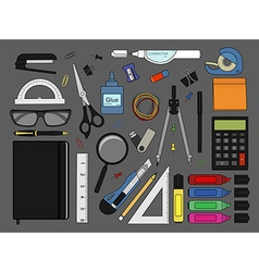 Stationery tools icons set Color vector image vector image