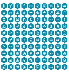100 kindergarten icons sapphirine violet vector