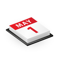 1st may isometric calendar icon vector image