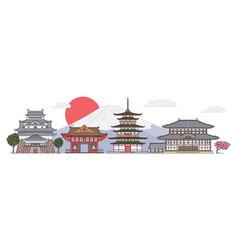 ancient japan architecture landscape - flat banner vector image