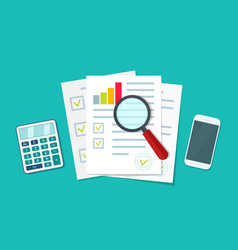 Audit icon financial research and report document vector