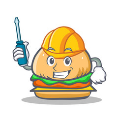 Automotive burger character fast food vector