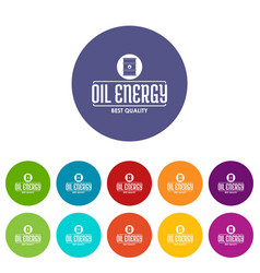 barrel oil icons set color vector image