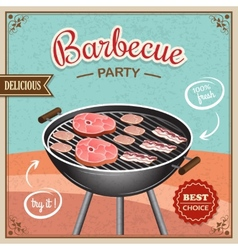 Bbq grill poster vector image